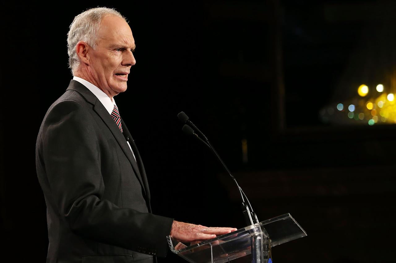 SYDNEY, AUSTRALIA - JANUARY 20:  Greg Chappell speaks during the 2014 Allan Border Medal at Doltone House  on January 20, 2014 in Sydney, Australia.  (Photo by Mark Metcalfe/Getty Images)