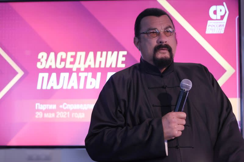 """U.S. actor Steven Seagal attends a meeting of the """"A Just Russia - For Truth"""" party in Moscow"""