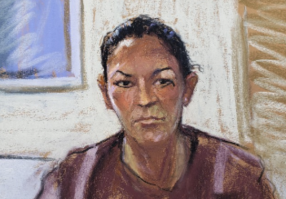 A courtroom sketch of Ghislaine Maxwell as she appeared in court via video link