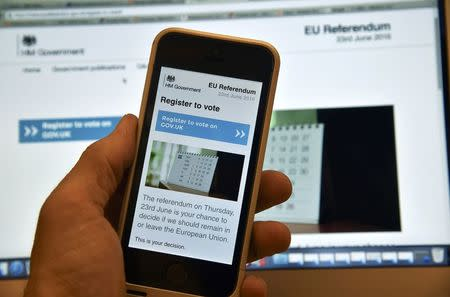 FILE PHOTO - A web page on a voting registration site for the forthcoming British EU referendum is seen on a laptop computer and a smart phone in London, Britain