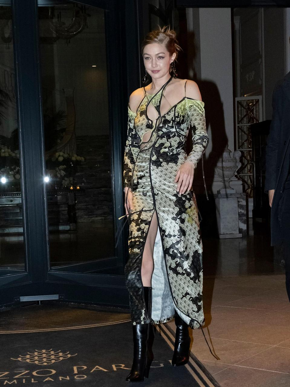 Gigi in Ottolinger and killer heeled boots? Need we say more?