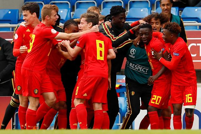 Soccer Football - UEFA European Under-17 Championship - Group C - Belgium v Denmark - Proact Stadium, Chesterfield, Britain - May 11, 2018 Belgium's Jeremy Doku celebrates scoring his sides first goal Action Images via Reuters/Jason Cairnduff