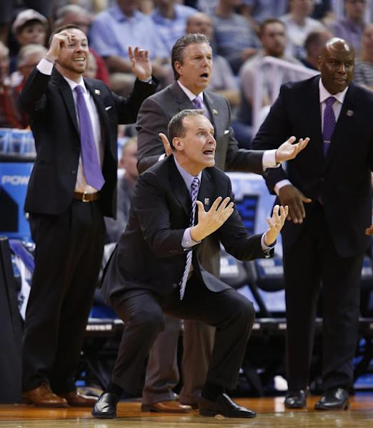 Northwestern head coach Chris Collins yells at officials during the second half of a second-round college basketball game against Gonzaga in the men's NCAA Tournament, Saturday, March 18, 2017, in Salt Lake City. (AP Photo/George Frey)