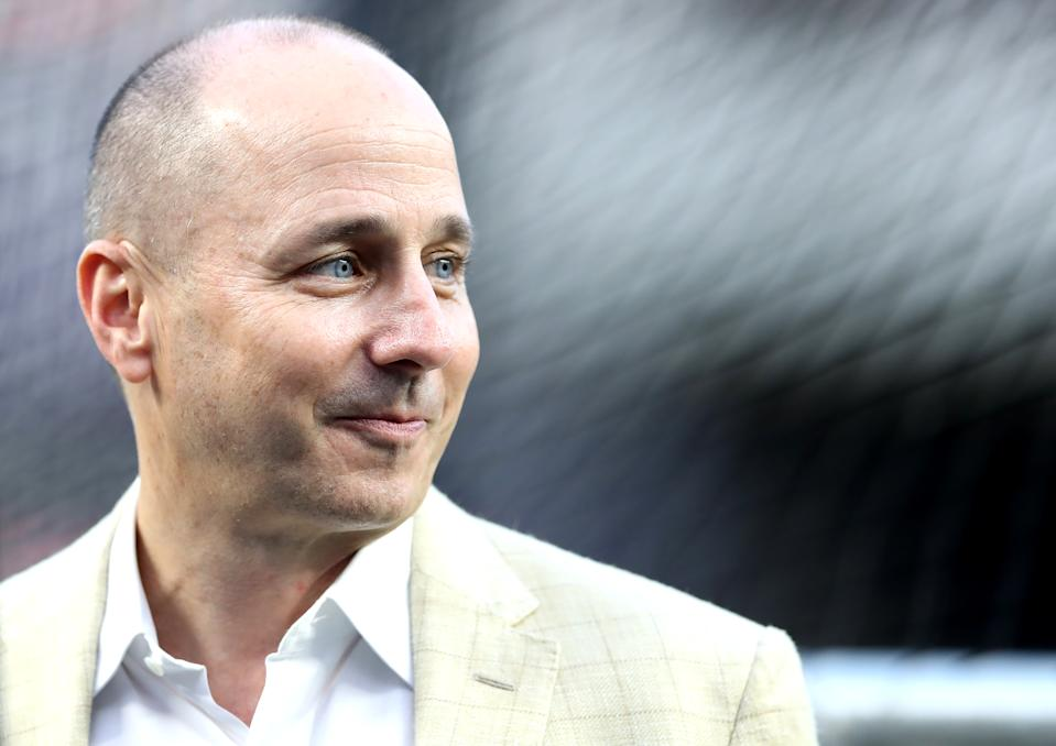 NEW YORK, NEW YORK - OCTOBER 03:  : General Manager of the New York Yankees Brian Cashman looks on prior to the American League Wild Card Game between the Oakland Athletics and the New York Yankees at Yankee Stadium on October 03, 2018 in the Bronx borough of New York City. (Photo by Elsa/Getty Images)