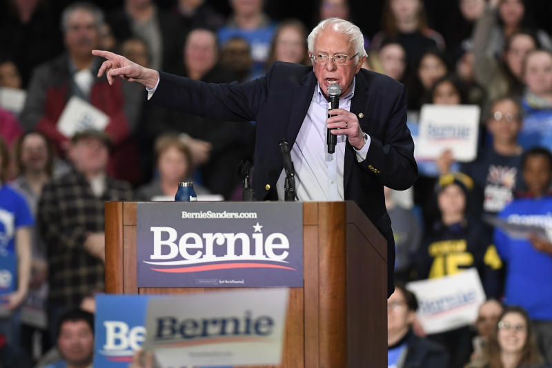 Democratic presidential candidate Sen. Bernie Sanders, I-Vt., speaks during a campaign event, Friday, Feb. 28, 2020, in Springfield, Mass. (AP Photo/Jessica Hill)