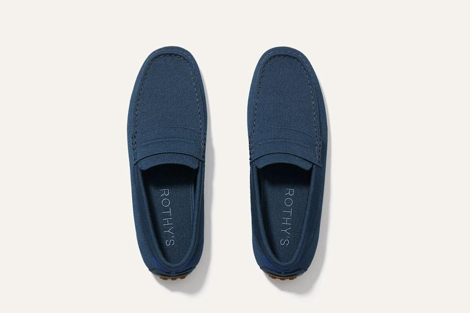 Navy knit loafers for men
