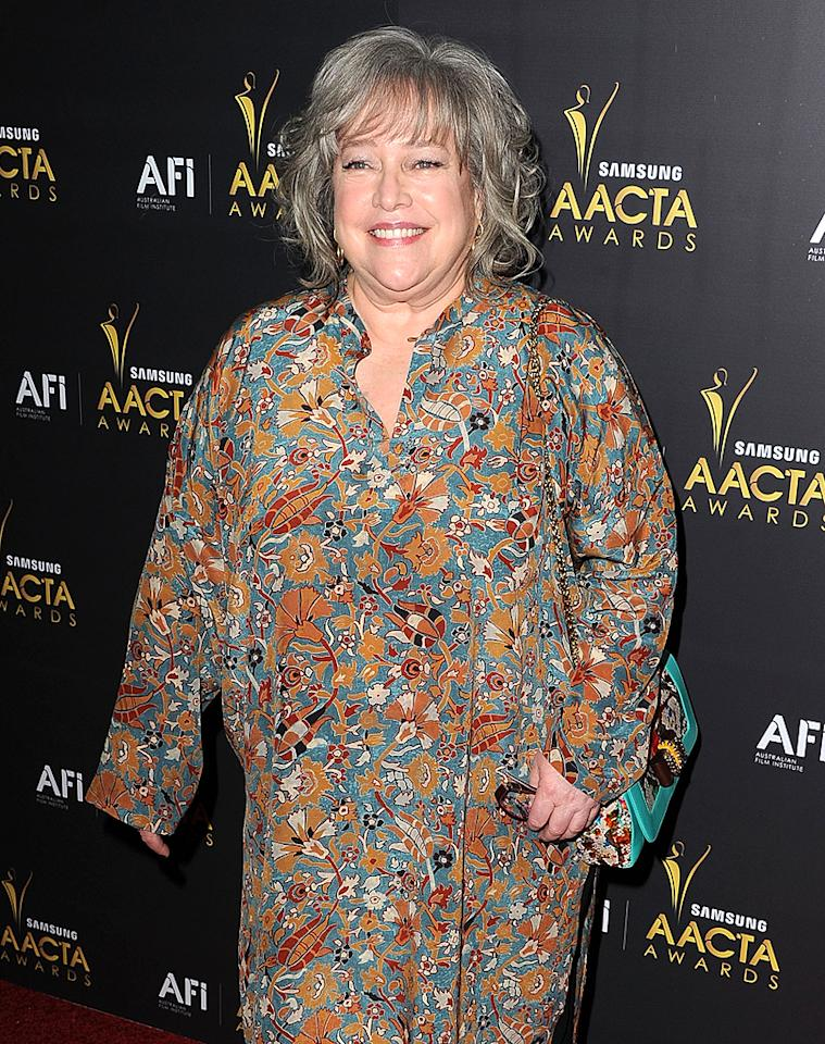 "Nine years after beating ovarian cancer, Kathy Bates once again was struck by the disease in September, this time in her breasts. ""Luckily, I don't have to undergo radiation or chemo,"" the 64-year-old Oscar-winner, who had a double mastectomy, told <em>People</em>. ""My family call me Kat because I always land on my feet and thankfully this is no exception."" (1/27/2012)"