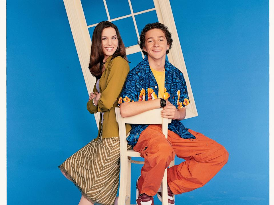"Shia LaBeouf poses with Christy Carlson Romano from ""Even Stevens."""