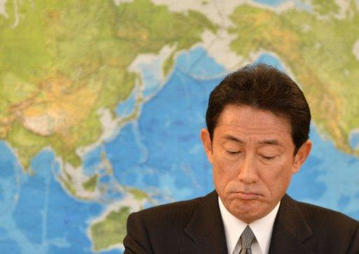 Japan's new Foreign Minister Fumio Kishida listens to questions at a news conference in Tokyo on December 28, 2012