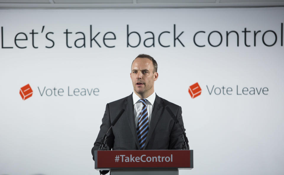 Dominic Raab campaigning for Vote Leave in 2016 (Getty)