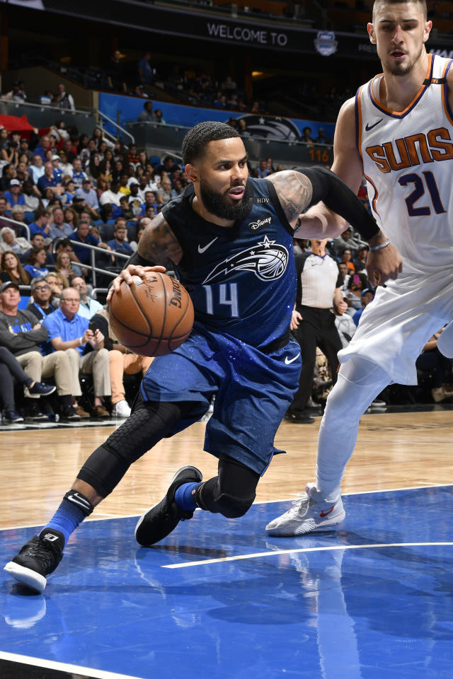 ORLANDO, FL - MARCH 24: D.J. Augustin #14 of the Orlando Magic handles the ball against the Phoenix Suns on March 24, 2018 at Amway Center in Orlando, Florida. (Photo by Fernando Medina/NBAE via Getty Images)