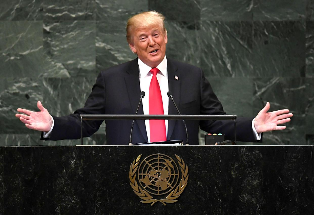 President Trump addresses the 73rd session of the U.N. General Assembly in New York on Tuesday. (Photo: Timothy A. Clary/AFP/Getty Images)
