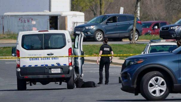 PHOTO: A crime scene technician stands near the scene of a shooting at a business park in Frederick, Md., April 6, 2021. (Julio Cortez/AP)