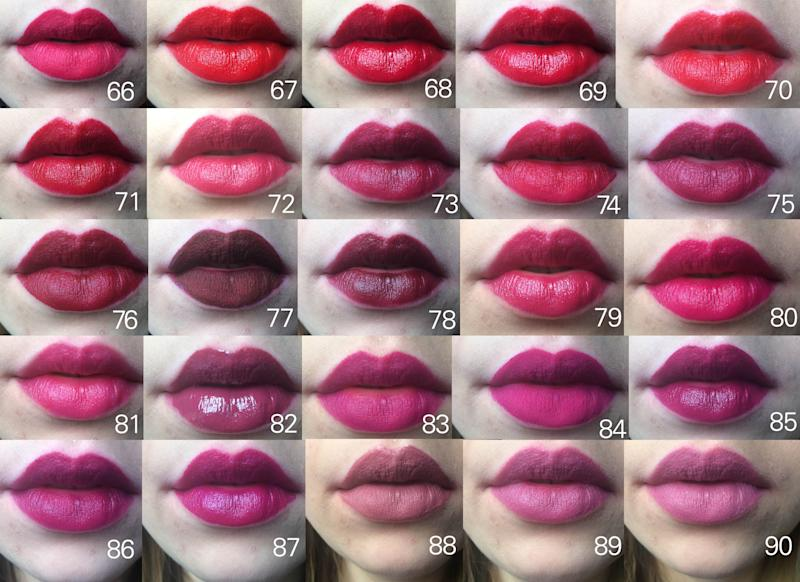 matte lipstick color chart: One woman swatched 97 lipsticks see the photos here