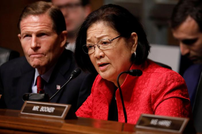Sen. Mazie Hirono asks a question as U.S. Attorney General William Barr testifies before the Senate Judiciary Committee in May. (Photo: Aaron P. Bernstein/Reuters)