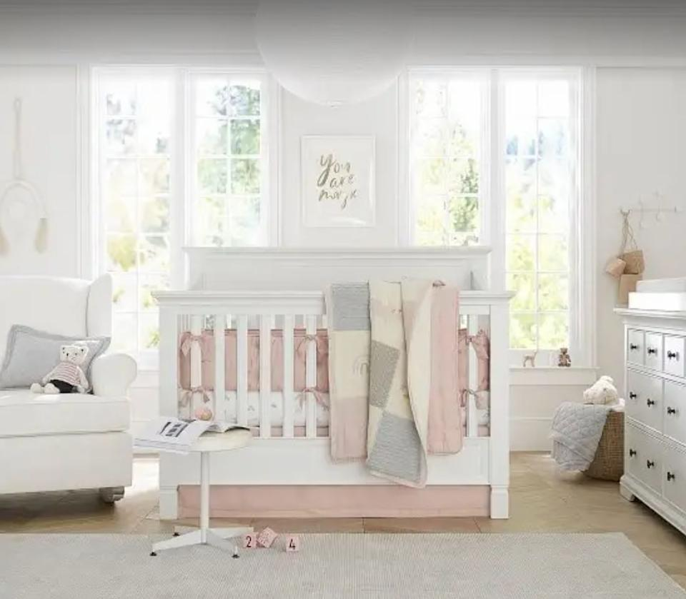 """This bed will actually grow with your child: It starts as a crib and can be adapted into a toddler bed <i>and then</i> a full-size bed.<br /><br /><strong><a href=""""https://go.skimresources.com?id=38395X987171&xs=1&xcust=HPThingsNewParentsProbablyWantToBuy-609c0cd1e4b014bd0ca6f04f&url=https%3A%2F%2Fwww.potterybarnkids.com%2Fproducts%2Flarkin-4-in-1-crib%2F%3F"""" target=""""_blank"""" rel=""""noopener noreferrer"""">Get it from Pottery Barn Kids for$999+(available in four colors and with or without a mattress).</a></strong>"""