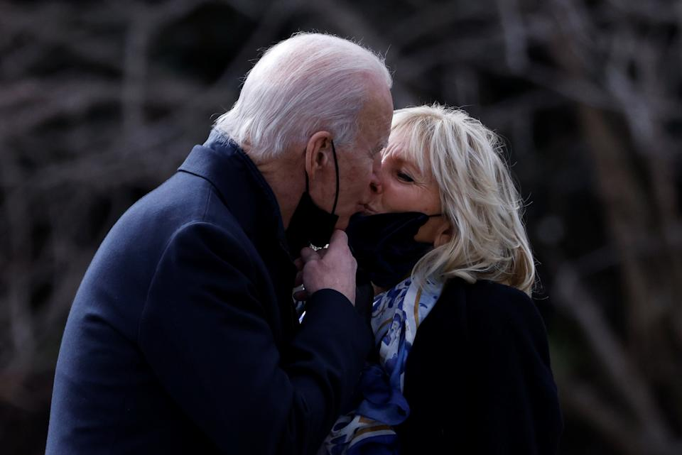President Joe Biden and first lady Jill Biden kiss goodbye outside the White House in January 2021. (Photo: REUTERS/Tom Brenner)