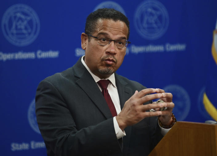 FILE - In this May 27, 2020, file photo, Minnesota Attorney General Keith Ellison answers questions during a news conference in St. Paul, Minn. Ellison says his office will lead the prosecution of former Brooklyn Center Officer Kim Potter who is charged with second-degree manslaughter in the death of Daunte Wright. Potter, who is white, fatally shot Wright, a 20-year-old Black motorist, on April 11, 2021 (John Autey/Pioneer Press via AP, Pool, File)