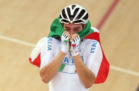 FILE PHOTO - 2016 Rio Olympics - Cycling Track - Final - Men's Omnium 40km Points Race - Rio Olympic Velodrome - Rio de Janeiro, Brazil - 15/08/2016. Elia Viviani (ITA) of Italy reacts. REUTERS/Matthew Childs Picture Supplied by Action Images