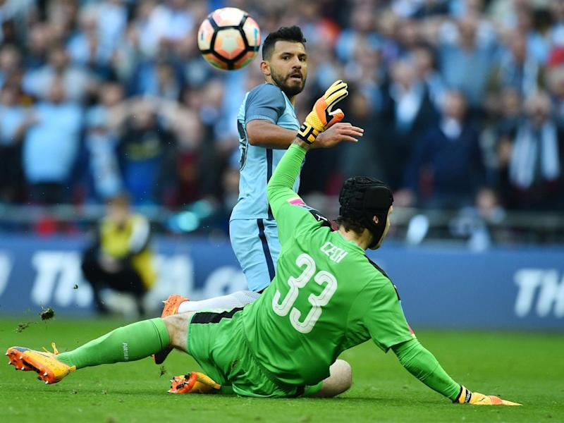 Aguero saw a second goal chalked off after an incorrect decision (Getty)