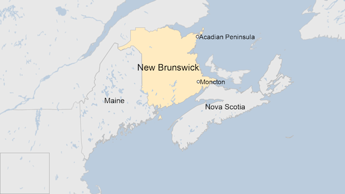 Map of New Brunswick showing Moncton and the Acadian Peninsula