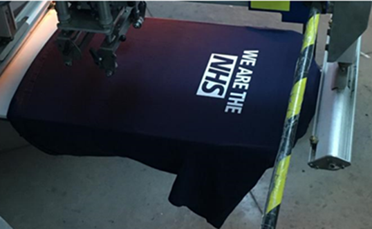 NHS Nightingale uniform pack T-shirts donated by M&S being printed in Leeds. (Marks and Spencer)