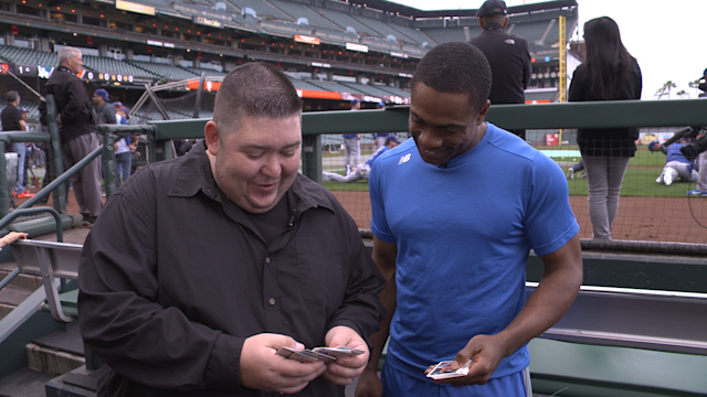 "Dodgers outfielder Curtis Granderson on ""25-Year-Old Baseball Cards."" (Yahoo Sports)"