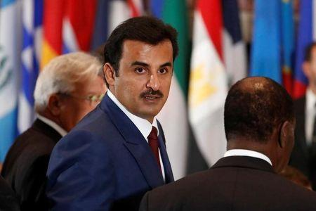 Qatar's Emir Sheikh Tamim bin Hamad al Thani arrives for a luncheon during the United Nations General Assembly at United Nations headquarters in New York City