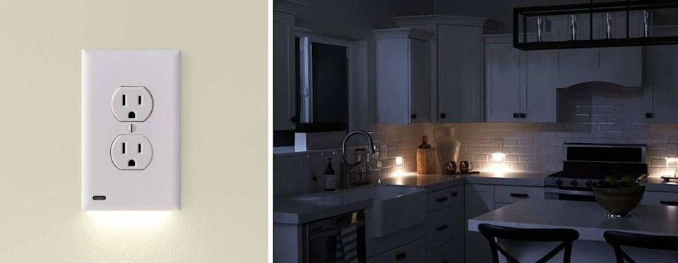 """Designed with a light on the bottom, these will ensure you can see even in the middle of the night, without bulky night lights taking up any space.<br /><br /><strong>Promising review:</strong>""""I don't like night lights because they take up the wall outlet, so this was the perfect solution. I put it in the guest bath and at night with the bathroom door open<strong>this provides just enough light to guide a person to the bathroom without blinding them</strong>. I ended up putting two on my hallway switches as well. What a great product."""" —<a href=""""https://www.amazon.com/gp/customer-reviews/R1J44Z8VOE82V5?&linkCode=ll2&tag=huffpost-bfsyndication-20&linkId=dfcdc50d50735a599b60647f44e11bb3&language=en_US&ref_=as_li_ss_tl"""" target=""""_blank"""" rel=""""nofollow noopener noreferrer"""" data-skimlinks-tracking=""""5854435"""" data-vars-affiliate=""""Amazon"""" data-vars-href=""""https://www.amazon.com/gp/customer-reviews/R1J44Z8VOE82V5?tag=bfmal-20&ascsubtag=5854435%2C14%2C37%2Cmobile_web%2C0%2C0%2C16324229"""" data-vars-keywords=""""cleaning"""" data-vars-link-id=""""16324229"""" data-vars-price="""""""" data-vars-product-id=""""20942020"""" data-vars-product-img="""""""" data-vars-product-title="""""""" data-vars-retailers=""""Amazon"""">LMK<br /><br /></a><strong>Get it from Amazon for<a href=""""https://www.amazon.com/Single-SnapPower-GuideLight-Generation-Plus/dp/B076B46GS5?&linkCode=ll1&tag=huffpost-bfsyndication-20&linkId=75dceeb550722a396b935a3e53d3a8e3&language=en_US&ref_=as_li_ss_tl"""" target=""""_blank"""" rel=""""nofollow noopener noreferrer"""" data-skimlinks-tracking=""""5854435"""" data-vars-affiliate=""""Amazon"""" data-vars-asin=""""B076B46GS5"""" data-vars-href=""""https://www.amazon.com/dp/B076B46GS5?tag=bfmal-20&ascsubtag=5854435%2C14%2C37%2Cmobile_web%2C0%2C0%2C16323371"""" data-vars-keywords=""""cleaning"""" data-vars-link-id=""""16323371"""" data-vars-price="""""""" data-vars-product-id=""""18008441"""" data-vars-product-img=""""https://m.media-amazon.com/images/I/31Cr0vHcjHL._SL500_.jpg"""" data-vars-product-title=""""Single - SnapPower GuideLight 2 for Outlets [New Version - LED Light Bar] -"""