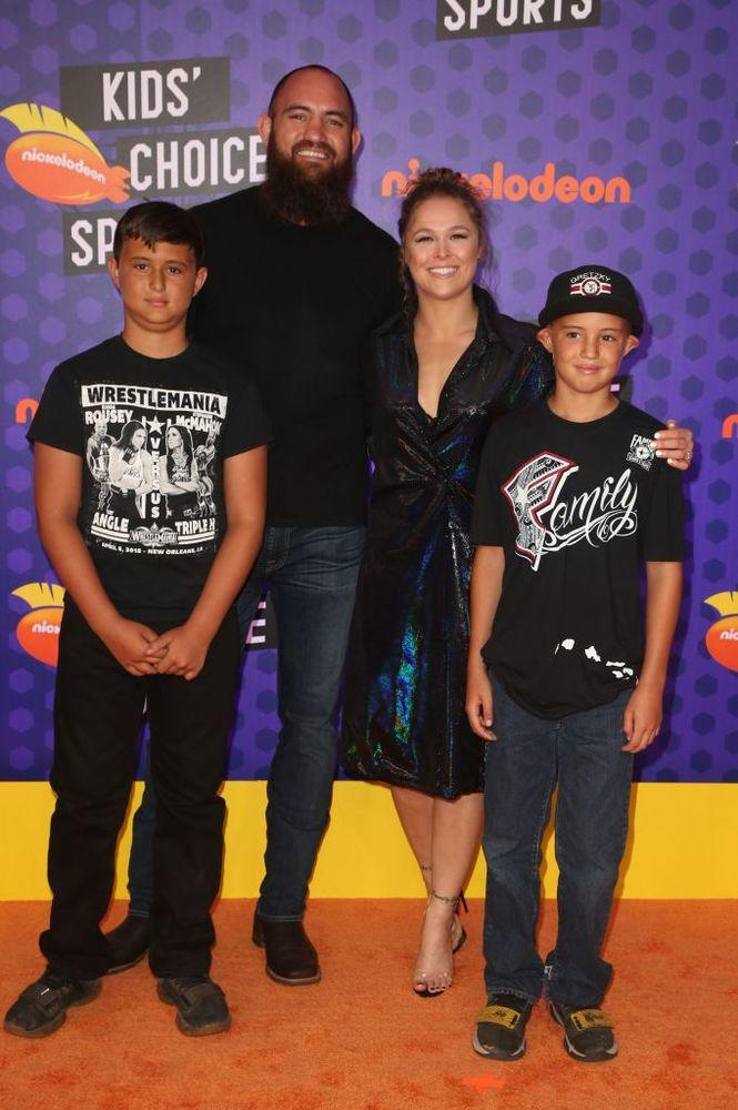 Travis Browne and Ronda Rousey with Browne's sons