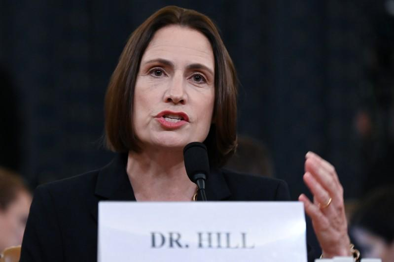 Fiona Hill testifies before a House Intelligence Committee hearing as part of the impeachment inquiry into U.S. President Donald Trump on Capitol Hill in Washington