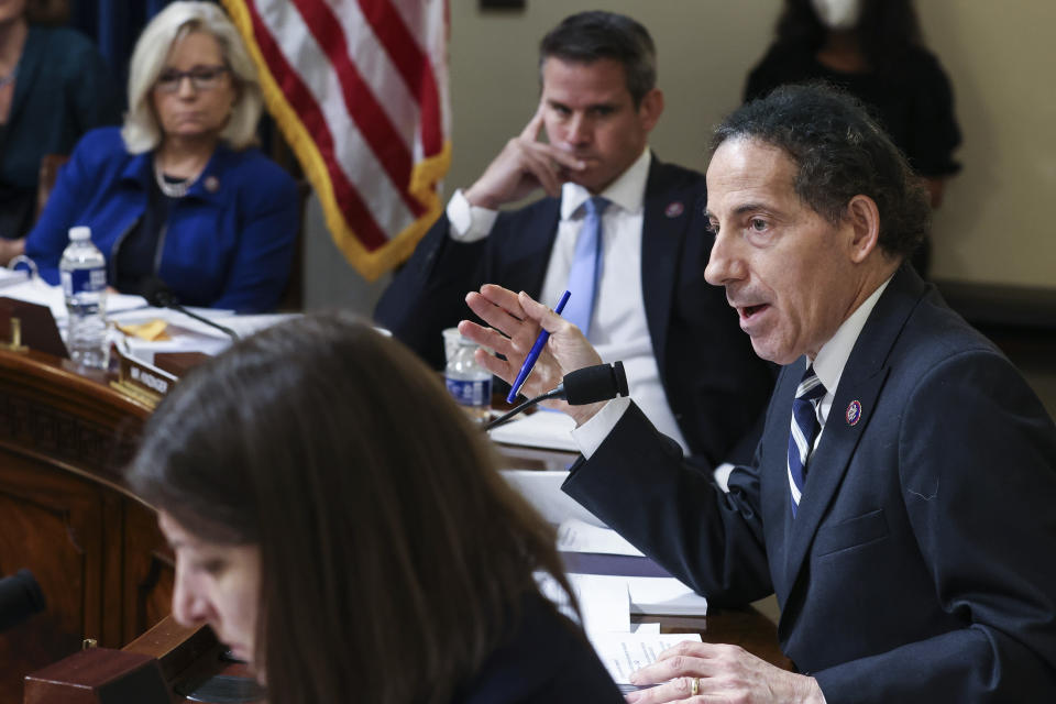 FILE - In this July 27, 2021, file photo Rep. Jamie Raskin, D-Md., speaks during the House select committee hearing on the Jan. 6 attack on Capitol Hill in Washington. The House Committee investigating the insurrection at the U.S. Capitol in January is demanding a host of records from the White House and several government intelligence and law enforcement agencies. (Oliver Contreras/The New York Times via AP, Pool, File)