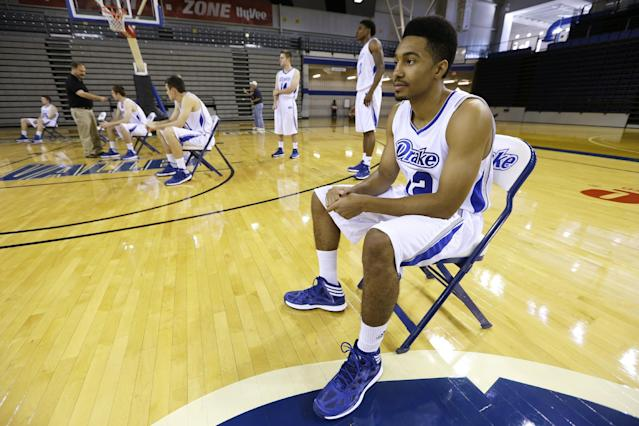 Drake guard Jordan Daniels looks on during NCAA college basketball media day, Tuesday, Oct. 8, 2013, in Des Moines, Iowa. Daniels sat out last season after transferring from Boston College. (AP Photo/Charlie Neibergall)