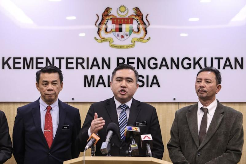 Transport Minister Anthony Loke speaks during a press conference in Putrajaya December 4, 2018. — Picture by Hari Anggara