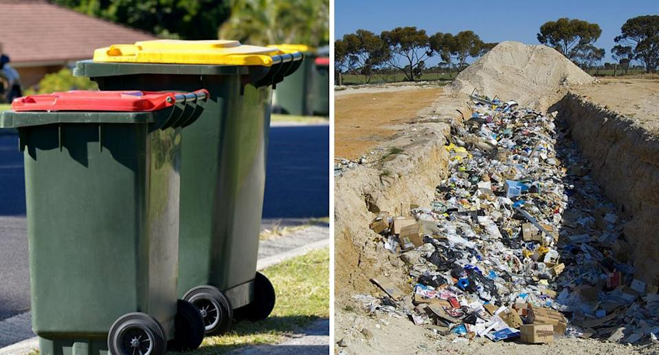 A split photo shows (left) a red and yellow bin and (right) rubbish in landfill.