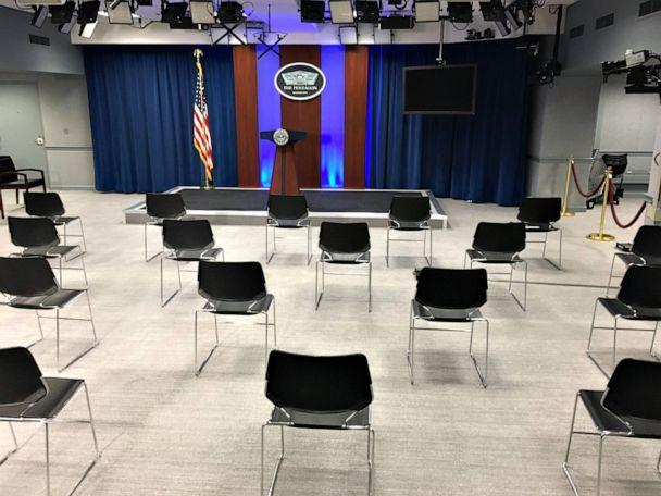 PHOTO: Chairs were placed three feet apart from each other in the Pentagon Briefing Room Tuesday amid coronavirus concerns. (Nick Greiner/ABC News)