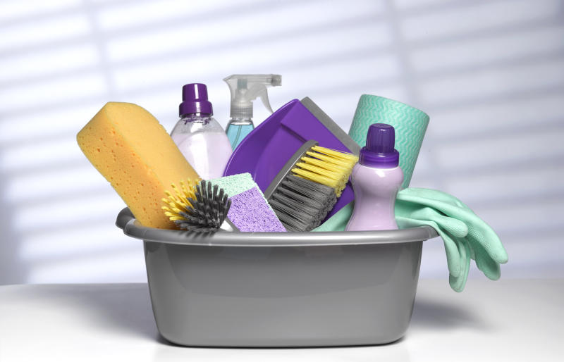 Stock up on cleaning supply must-haves now (Photo: Getty)