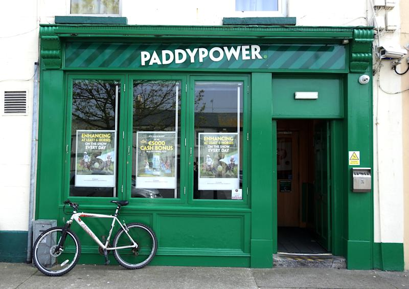17th April 2019, Dublin, Ireland. Paddy Power betting offices with a bicycle parked outside in Skerries, Dublin.