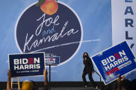 Democratic vice presidential candidate Sen. Kamala Harris, D-Calif., arrives to speak at Morehouse College to speak during a campaign event, Friday, Oct. 23, 2020, in Atlanta. (AP Photo/John Amis)
