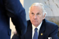 South Carolina Gov. Henry McMaster listens to a presentation on horseshoe crab blood, which is a vital component in the contamination testing of injectable medicines - including the coronavirus vaccines - at Charles River Labs on Friday, Aug. 6, 2021, in Charleston, S.C. (AP Photo/Meg Kinnard)