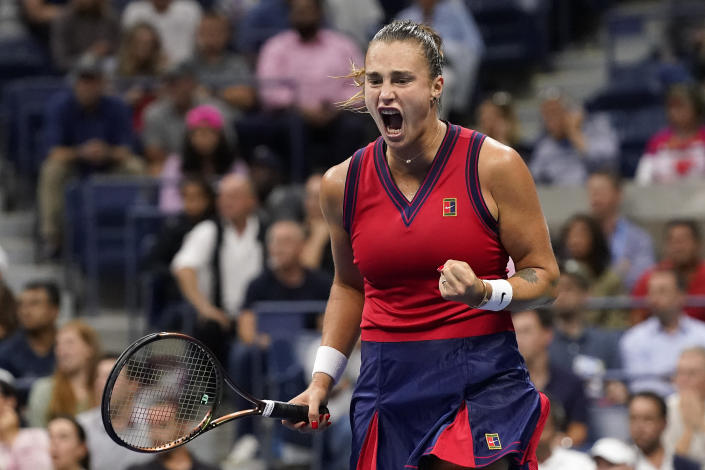 Aryna Sabalenka,of Belarus, reacts after scoring a point against Leylah Fernandez, of Canada, during the semifinals of the US Open tennis championships, Thursday, Sept. 9, 2021, in New York. (AP Photo/Elise Amendola)