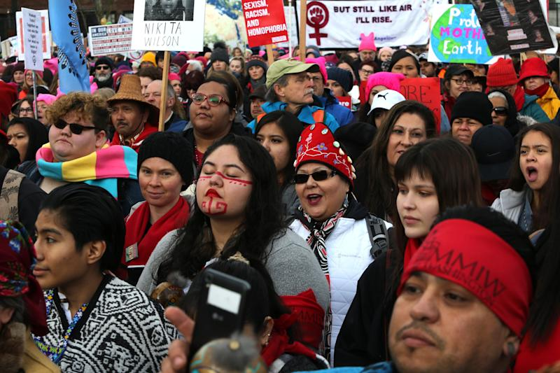 Thousands of Native Americans listen to speakers raising awareness of missing and murdered Indigenous women at a January 2019 march in Seattle. (Photo: Karen Ducey via Getty Images)