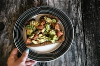 """<p>Little changes can add up to big results, Moretti said. See for yourself by aiming to leave about a third of the food on your plate at each meal. By eating a little less, you'll <a href=""""https://www.popsugar.com/fitness/How-Save-Calories-Dinner-44783399"""" class=""""link rapid-noclick-resp"""" rel=""""nofollow noopener"""" target=""""_blank"""" data-ylk=""""slk:save hundreds of calories"""">save hundreds of calories</a> over the course of one week (and ones you likely didn't really need to begin with). Pack up the leftovers for later to avoid waste.</p>"""