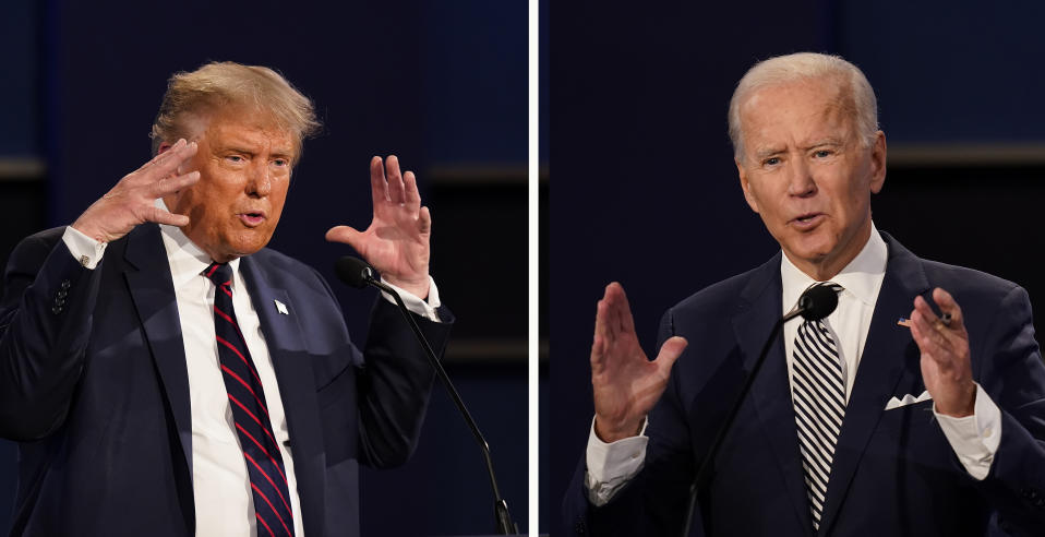 US President Donald Trump (left) and former Vice President Joe Biden during the first presidential debate at Case Western University and Cleveland Clinic on 29 September, 2020, in Cleveland, Ohio. (PHOTOS: AP)