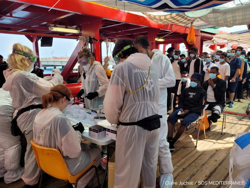 """Migrants are being tested for the coronavirus disease (COVID-19) onboard """"Ocean Viking"""", in Augusta"""