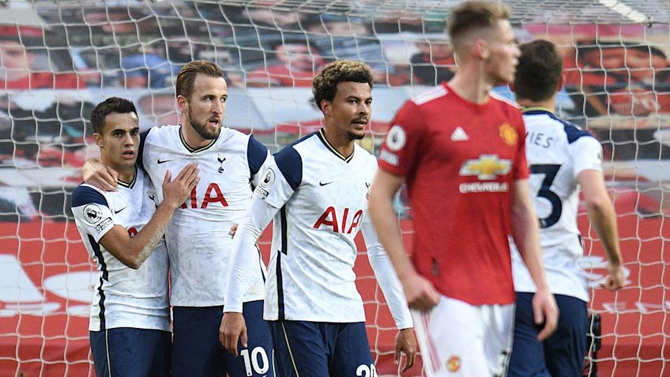 Tottenham players, pictured here celebrating a goal against Manchester United.