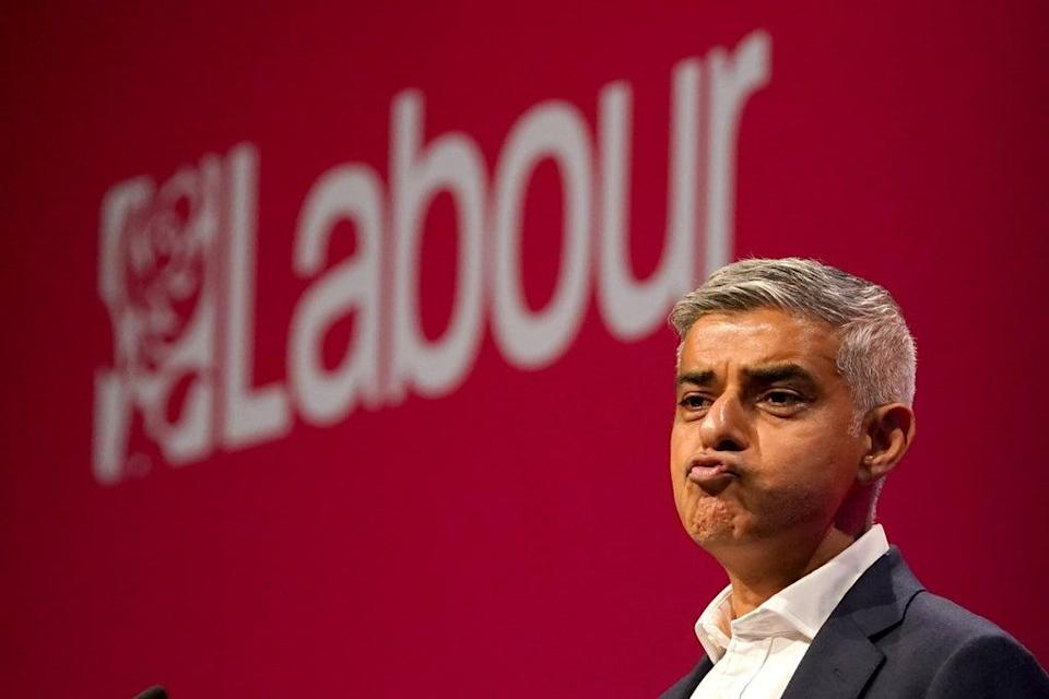 Mayor of London Sadiq Khan speaks at the Labour Party conference in Brighton (Gareth Fuller/PA) (PA Wire)