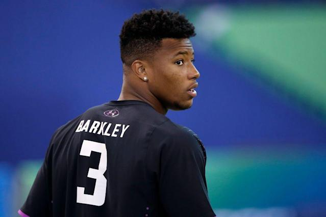 "Many believe RB <a class=""link rapid-noclick-resp"" href=""/ncaaf/players/256698/"" data-ylk=""slk:Saquon Barkley"">Saquon Barkley</a> has the makings of a generational talent. What makes him so good?  <span>(Photo by Joe Robbins/Getty Images)</span>"