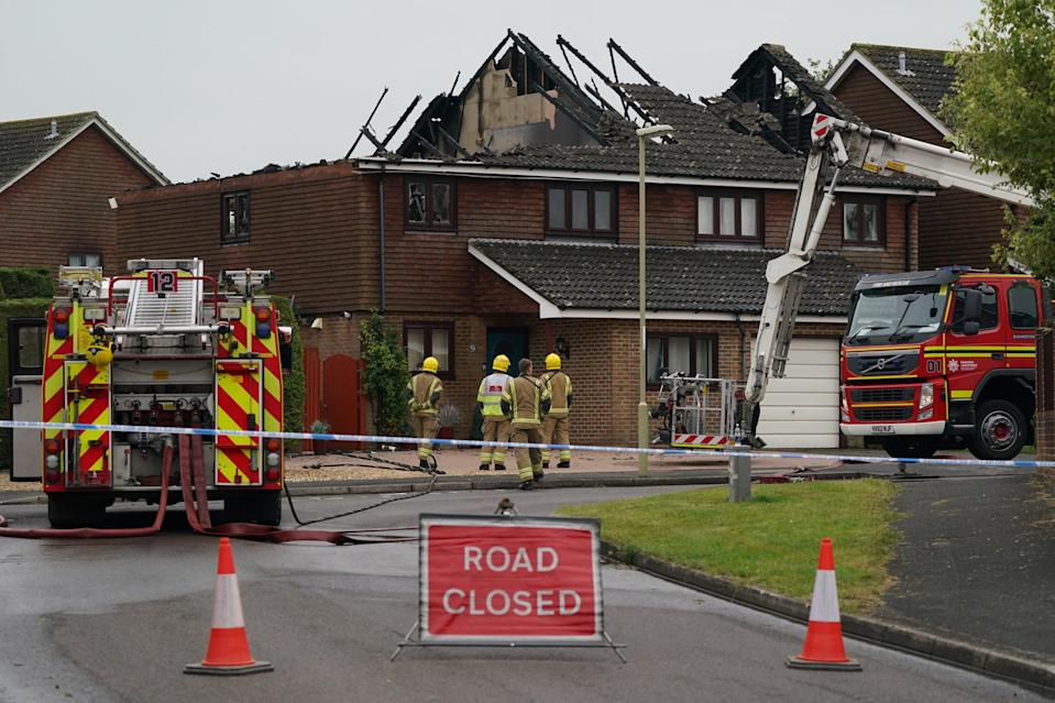 Fire crews were called to the address in Mercia Avenue in Andover on Saturday morning  (PA)