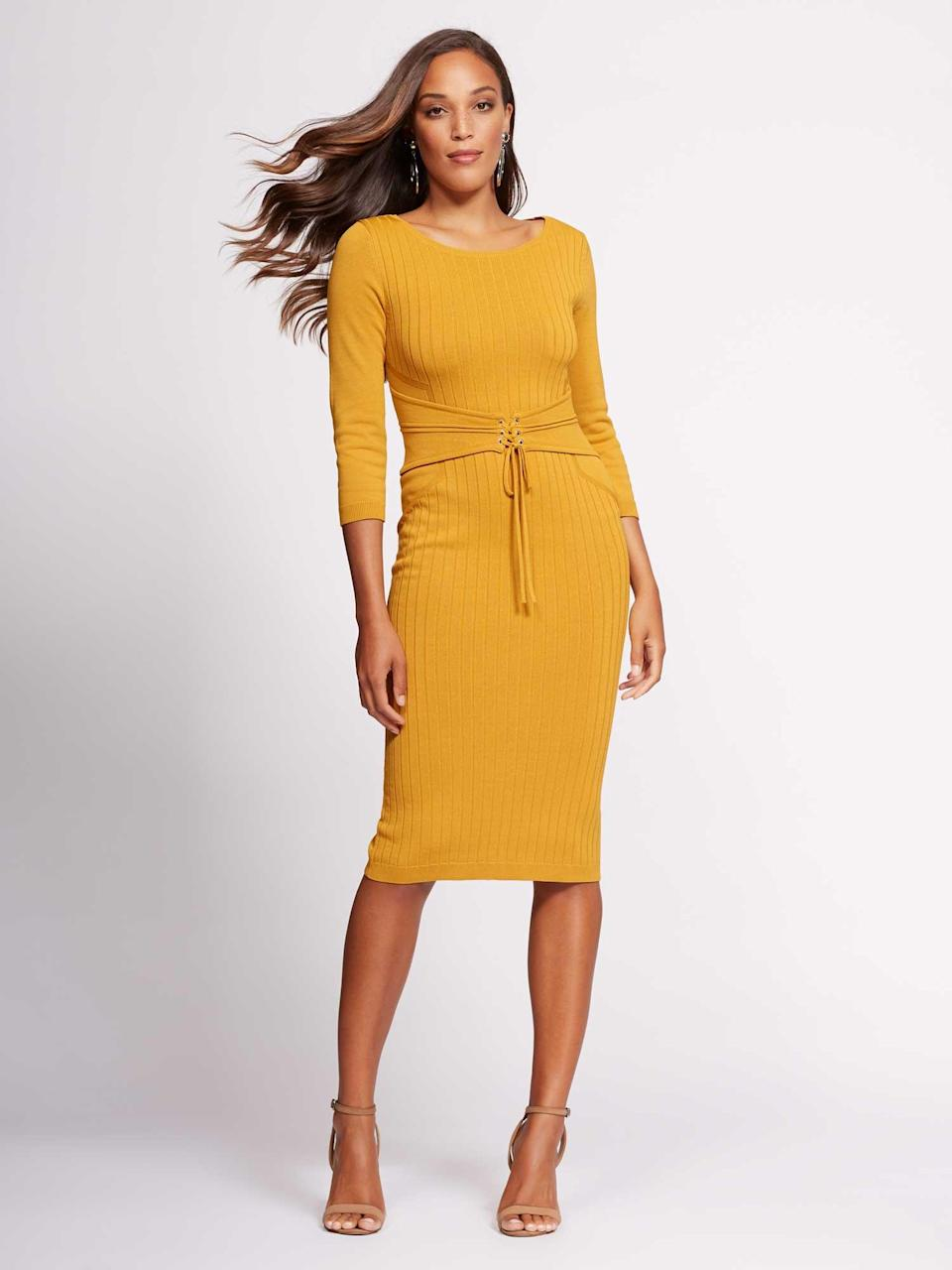 Mustard-yellow dress is perfect for the workplace. (Photo: Courtesy of New York & Company)